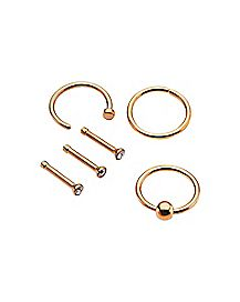 Multi-Pack Hoop and Stud Nose Ring 6 Pack - 18 Gauge