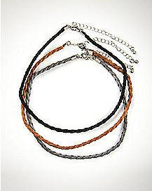 Suede Braided Choker Necklaces - 3 Pack