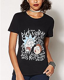 Black Rick & Morty Graphic T Shirt
