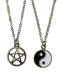 Star and Yin Yang Necklace 2 Pack