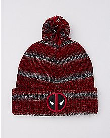 Marled Deadpool Pom Beanie Hat - Marvel