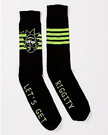 Riggity Riggity Wrecked Rick Crew Socks - Rick and Morty