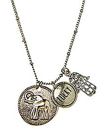 Lucky Hamsa Hand and Elephant Necklace