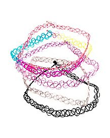 Multi-Pack Tattoo Choker Necklaces - 5 Pack