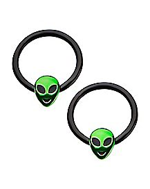 Black and Green Alien Captive Rings - 14 Gauge