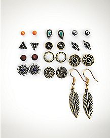 Antique Boho Stud Earrings - 12 Pair