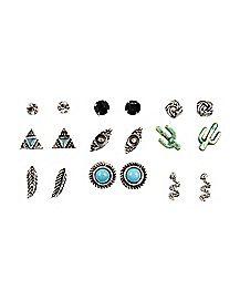 Cactus Multi-Pack Stud Earrings - 9 Pair
