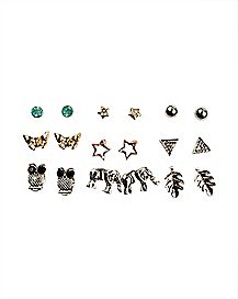 Multi-Pack Stud Earrings - 9 Pair