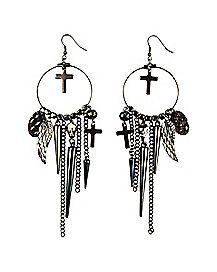 Dreamcatcher Cross Dangle Earrings