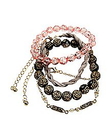 Black Rose and Braided Bracelet - 4 Pack