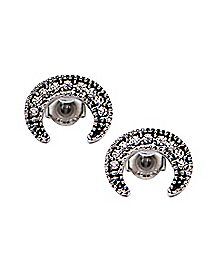 CZ Silver Plated Crescent Moon Stud Earrings