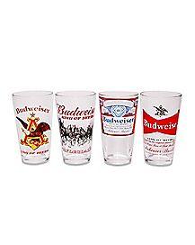 Budweiser Pint Glasses 4 Pack - 16 oz.