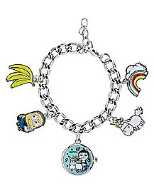 Despicable Me Charm Bracelet With Clock Charm
