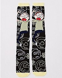 3D Head Morty Knee High Socks - Rick and Morty