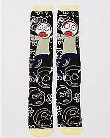 3D Head Morty Knee High Socks - Rick and Morty