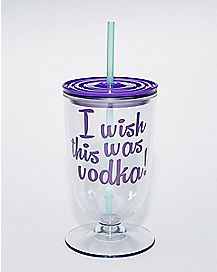 I Wish This Was Vodka Cup With Straw - 16 oz.