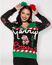 Cat Merry Xmas Bitches Ugly Christmas Sweater