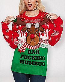 Light Up Bah Fucking Humbug Ugly Christmas Sweater