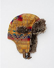 Faux Fur Brown and Multi-Color Baby Trapper Hat
