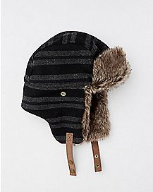 Faux Fur Black and Gray Striped Baby Trapper Hat