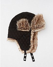 Faux Fur Black Quilted Baby Trapper Hat