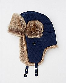 Faux Fur Quilted Trapper Hat