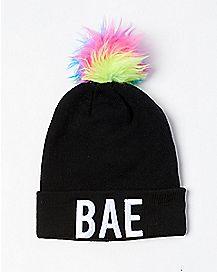 Rainbow Pom Bae Beanie Hat