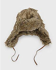 Brown Faux Fur Laplander Hat