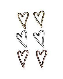 Heart Earrings - 3 Pair