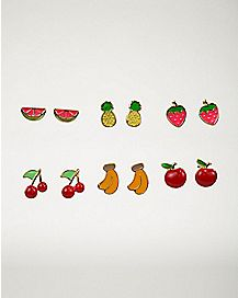 Multi-Pack Fruit Stud Earrings - 6 Pair