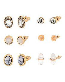 Stone and Flower Multi-Pack Stud Earrings - 6 Pairs