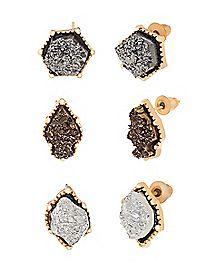 Druzy Stud Earrings - 3 Pair