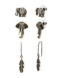 Elephant Leaf Earrings - 3 Pair