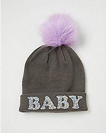 Pom Sequin Baby Beanie Hat
