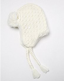 Faux Fur White Knit Trapper Hat