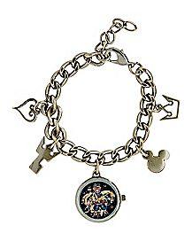 Goldplated Kingdom Hearts Charm Bracelet With Watch Charm - Disney