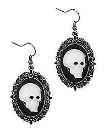 Skeleton Cameo Dangle Earrings