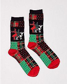 Threesome Reindeer Ugly Christmas Crew Socks