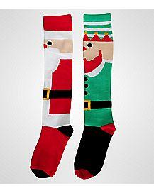 Mismatched Elf Santa Holiday Knee High Socks