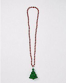 Beaded Light Up Christmas Tree Necklace