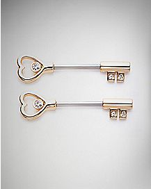 Goldtone Heart Key Nipple Barbells 1 Pair - 14 Gauge