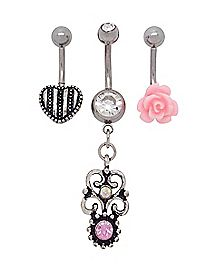 Multi-Pack Belly Rings 3 Pack - 14 Gauge