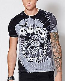 Spiral Tie Dye Jack Skellington T Shirt - The Nightmare Before Christmas