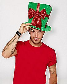 Green Present Top Hat