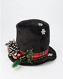 Black Snowy Top Hat