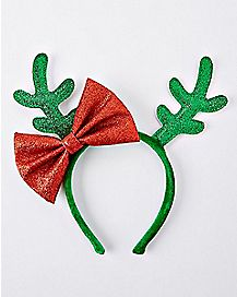 Glitter Antler Headband with Bow