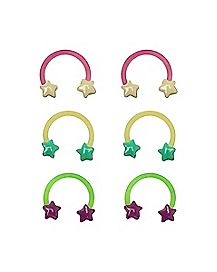 Multi-Pack Star Glow In The Dark Horseshoe Rings 3 Pair - 16 Gauge