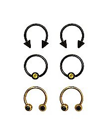 Multi-Pack Horsehoe and Captive Rings 3 Pair - 16 Gauge
