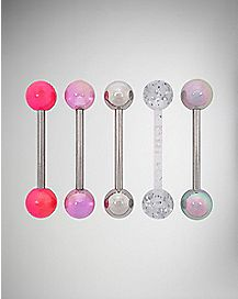 Peach Sparkling Barbell 5 Pack - 14 Gauge