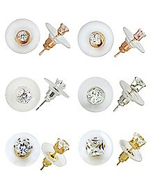 CZ Stud Earring 6 Pack